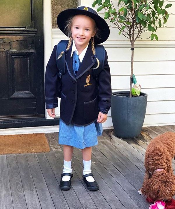Too cute! Trixie looked excited for her first day of school. *(Image: Instagram / @Fifi_box)*