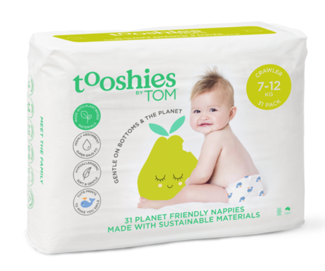 "**Tooshies by TOM:** The average bub will go through 5,000-10,000 nappies before they are toilet trained, with over 2 billion dirty nappies ending up in Australian landfill every year. That's a lot of waste, and cloth nappies aren't always the most suitable options for parents. Tooshies are compostable and don't include crude oils and plastics as they are made with plant based materials, meaning its safer to use on your baby. They also come in super cute patterns… which is always important. *Image: [TheTOMCo.](https://thetomco.com/our-brands/tooshies/range/nappies/|target=""_blank""