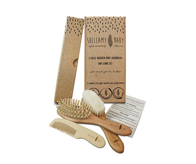 """**Shellamy Baby Brush Set:** This beautiful wooden three-piece brush set has everything parents need for brushing their baby's hair from newborn to toddler. The goat hair, BPA-free silicone and wood bristles support healthy scalp and hair growth, without the use of harmful plastics. This also makes a great gift for a baby shower. Image: [Shellamy](https://www.amazon.com.au/Shellamy-Baby-Piece-Wooden-Brush/dp/B071W69C6L 