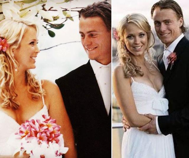 Lleyton proposed to a then Bec Cartwright just six weeks into their romance. They tied the knot in a ceremony fit for royalty at the Sydney Opera House in 2005. *(Image: Instagram)*