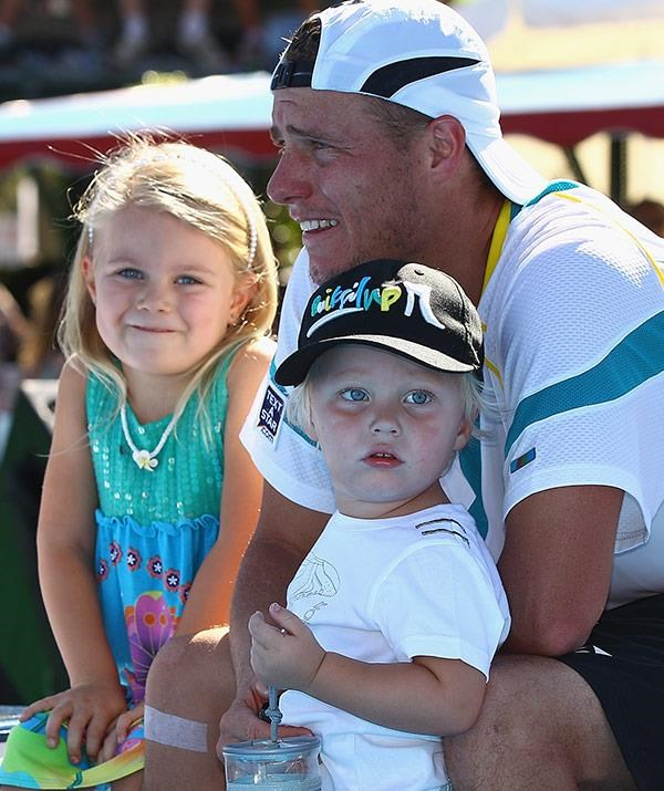 "Lleyton credits his ""rock"" and wife of 12 years Bec for holding the family together throughout his tennis career, and says they make a powerhouse team. *(Image: Getty)*"