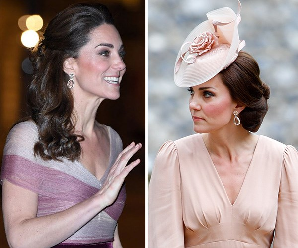 Duchess Catherine wore the same earrings she wore to sister Pippa's wedding. *(Images: Getty)*