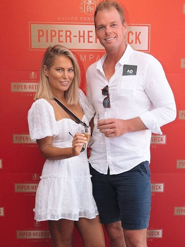 Keira and Jarrod look picture perfect in their matching white outifts. *(Image: Instagram @keiramaguire)*