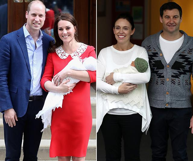 We're envisioning Meghan will opt for Jacinda's style (pictured left) when it comes to the first pics of her new baby. *(Image: Getty)*