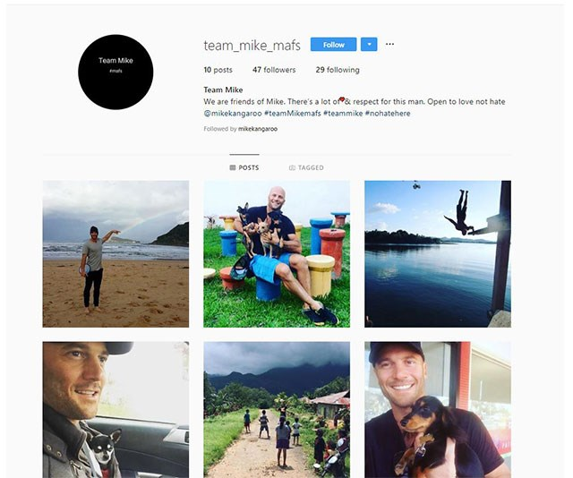 """""""We are friends of Mike. There's a lot of ❤️ & respect for this man. Open to love not hate,"""" the account's bio read. *(Image: @team_mike_mafs Instagram)*"""