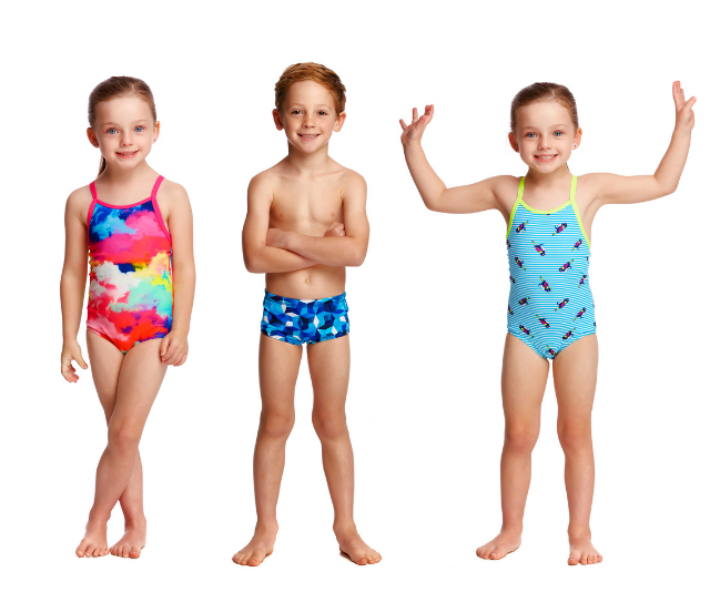 Funky Trunks & Funkita use durable, chlorine resistant fabric that offers 50+ UV protection: *Image supplied.*