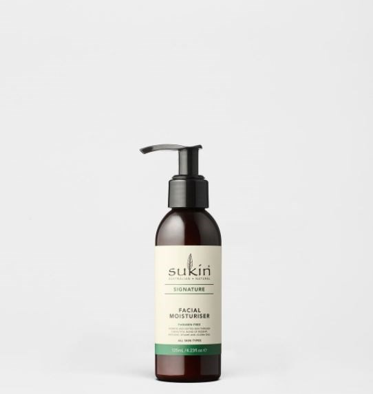 "Facial moisturiser, $10.95 available from [Sukin](https://sukinnaturals.com/collections/natural-face-moisturisers/products/signature-facial-moisturiser|target=""_blank""