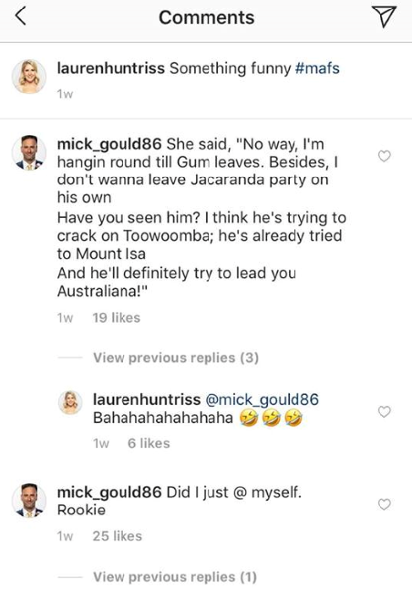 Mick left a long-winded comment on Lauren's post about her wedding, which she clearly enjoyed.
