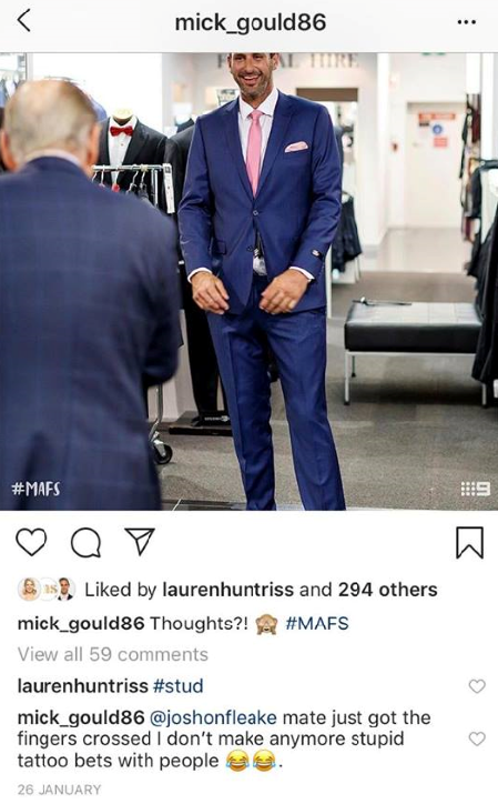 "Lauren describes Mick as a ""stud"" on his wedding day."