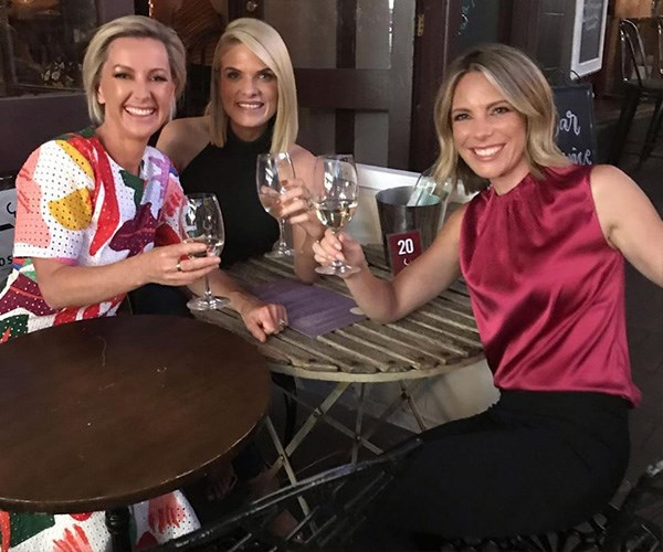 Where's Georgie? Deb shared this snap of fellow Nine presenters Erin Molan and Belinda Russell enjoying a wine together. *(Image: Instagram @deborah_knight)*