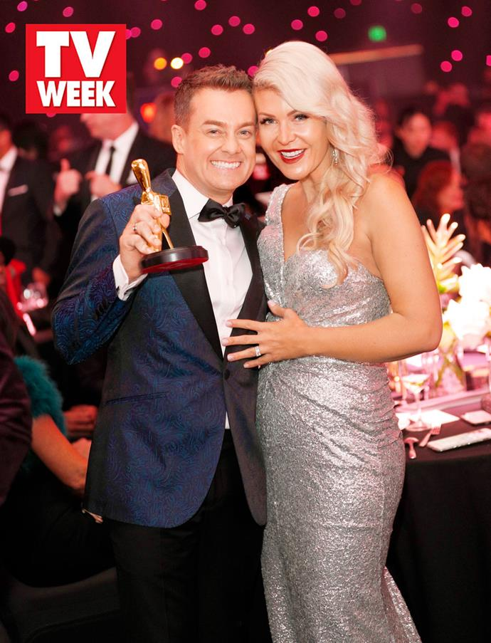 2018 TV WEEK Gold Logie winner Grant Denyer and his wife Chezzi.