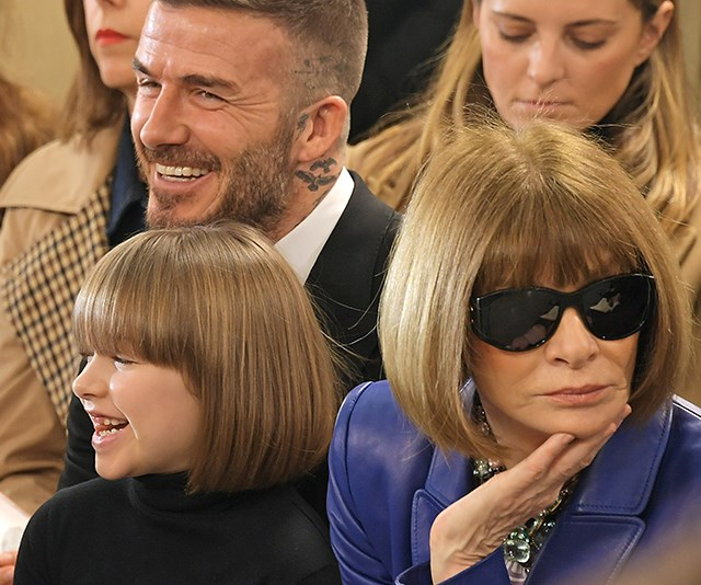 Twinning! Anna Wintour and Harper Beckham looked the image of chic at Victoria Beckham's Autumn / Winter collection showcase at London Fashion Week. *(Image: Getty)*