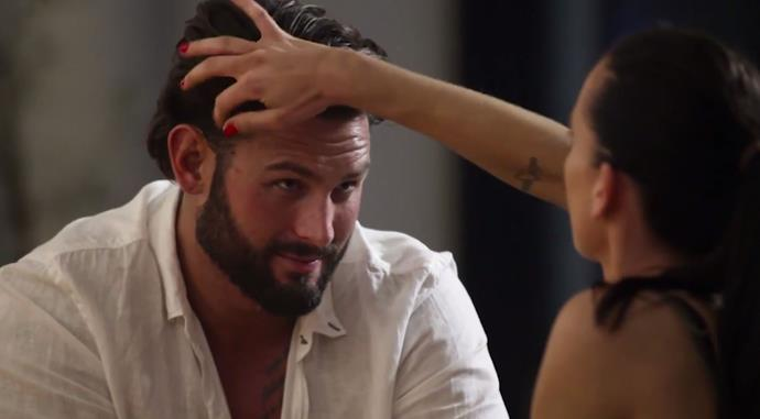 Ines sure has an obsession with Sam's luscious locks! *(Source: Channel 9)*