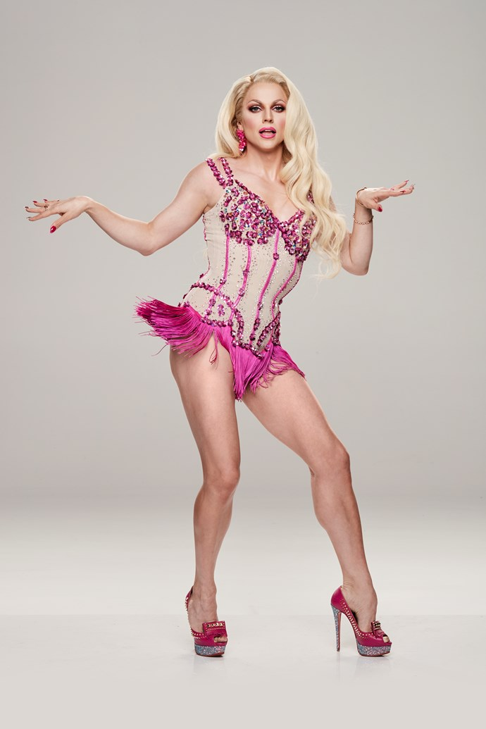 """**COURTNEY ACT, TRIPLE THREAT, 36** <br><br> If Courtney  wants to win *DWTS,* she's going to have to stay focused. However, the drag artist and singer – real name Shane Jenek – is already finding herself getting distracted by her co-star Jett Kenny! <br><br> """"I want to see everyone's moves,"""" she tells TV WEEK. """"I was particularly beguiled by the gentleman who looks like a Hemsworth [Jett]."""" <br><br> The former *RuPaul's Drag Race* contestant, 36, will also be the first drag artist to compete in the Australian competition. <br><br> """"The female dancers are putting on a costume and the men are putting on a costume, but my costume just happens to be a woman's,"""" Courtney says."""