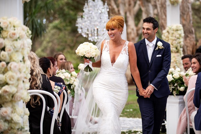 Jules and Cam on their wedding day (Image: Nine Network).