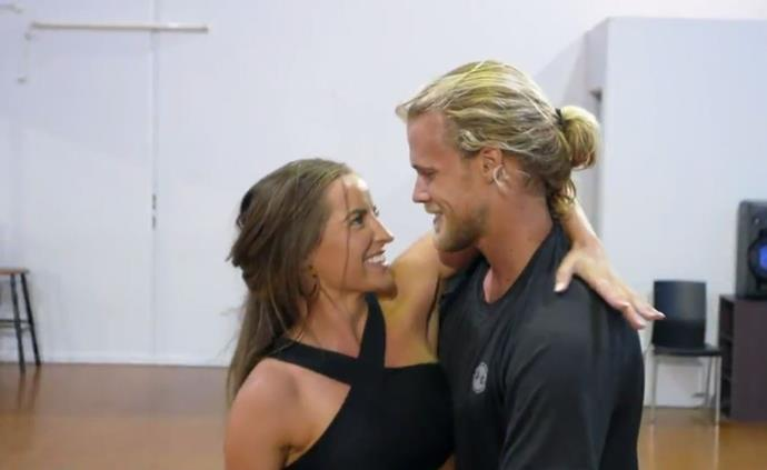 Lily and Jett getting up close and personal during rehearsals. *(Image: Channel 10)*