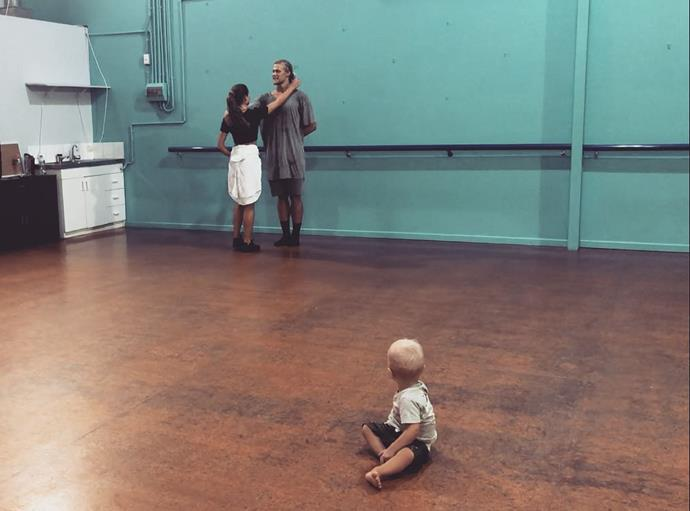 Jett's baby nephew watches on during rehearsals. *(Image: Instagram)*