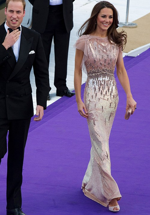 Okay, we might have spoken to soon - *this* might be our favourite look of all time. Wearing one of her go-to designers Jenny Packham, this embellished floor-length gown was pure heaven on the duchess as she attended the ARK 10th Anniversary Gala Dinner in 2011. *(Image: Getty)*