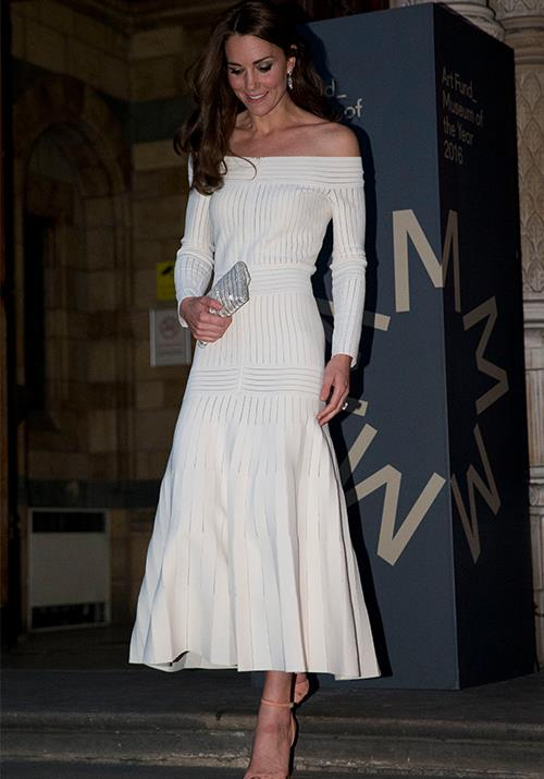 Switching things up from her ravishing floor-length gowns, Kate opted for an off-shoulder Barbara Casasola gown as she attended an awards ceremony at London's Natural History Museum. *(Image: Getty)*