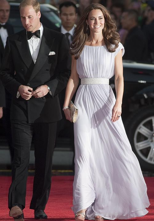 In what might be one of our favourite looks of all time, the duchess wore this ethereal Alexander McQueen number to a BAFTA Awards event in LA, circa 2011. *(Image: Getty)*