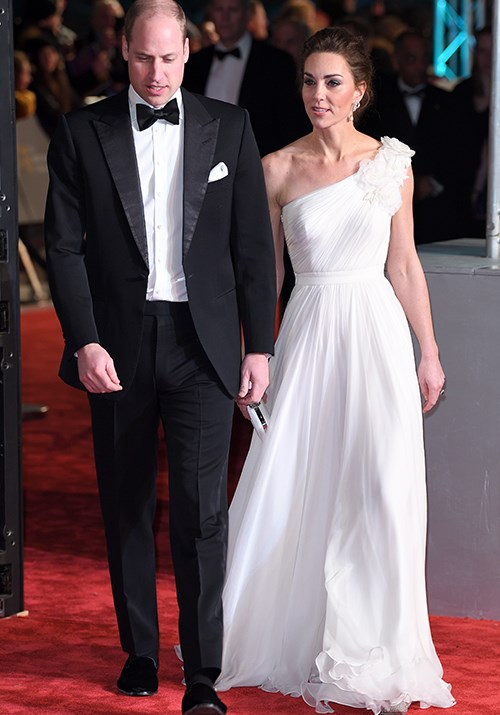 Kate kicked things off in style this year by attending the 2019 BAFTA Awards in a beautiful one-shoulder gown by Sarah Burton for Alexander McQueen - and Prince William didn't look so bad either! *(Image: Getty)*