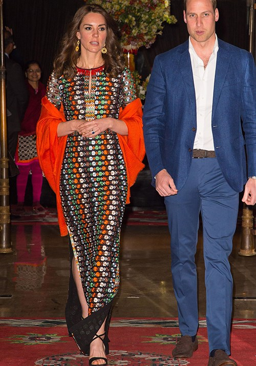 Opting for a bold palette, Duchess Catherine opted for a Tory Burch maxi dress while attending an evening soiree on her royal tour of Bhutan and India in 2016. *(Image: Getty)*