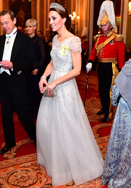 "Once again, Kate's second tiara moment for 2018 at a [reception dinner at Buckingham Palace](https://www.nowtolove.com.au/royals/british-royal-family/duchess-catherine-princess-diana-tiara-52869|target=""_blank"") in 2018 had us transfixed. This time, she opted for a stunning Jenny Packham frock. *(Image: Getty)*"
