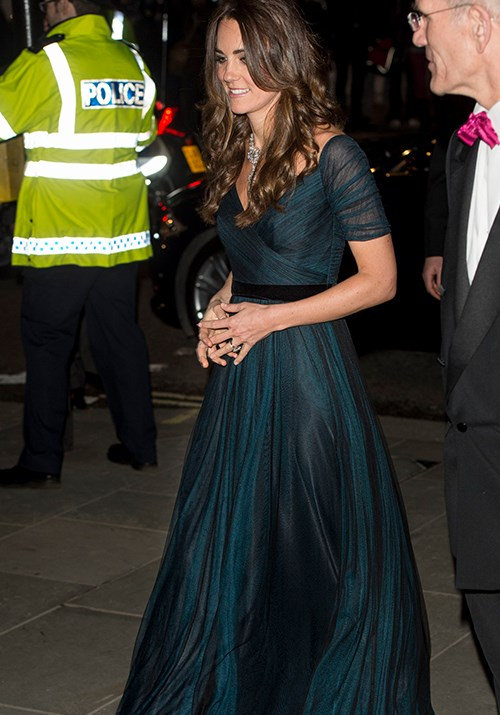 Those locks! The Duchess of Cambridge looked stunning in yet another Jenny Packham gown for the Portrait Gala in 2014. *(Image: Getty)*