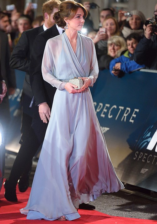 The name's Kate... A red carpet natural, Duchess Catherine attended the premiere for the new James Bond film, *Spectre* in a sheer long-sleeved Jenny Packham dress. *(Image: Getty)*