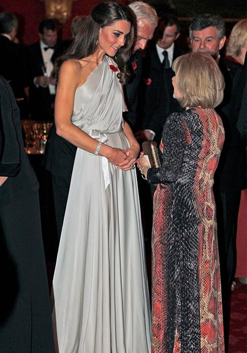 And as you're about to see, 2011 was the year of the gown for Catherine. This stunning Jenny Packham number worn to a reception and dinner at St. James's Palace was worn by the royal not long after her royal wedding - and it set the precedent high.  *(Image: Getty)*