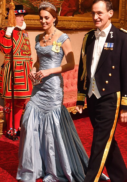 "Attending a State Banquet in Buckingham Palace in 2018, we were treated to a highly-anticipated [tiara moment](https://www.nowtolove.com.au/royals/british-royal-family/kate-middleton-tiaras-43452|target=""_blank"") from the royal. Her divine fishtail gown by Alexander McQueen was also a showstopper.  *(Image: Getty)*"