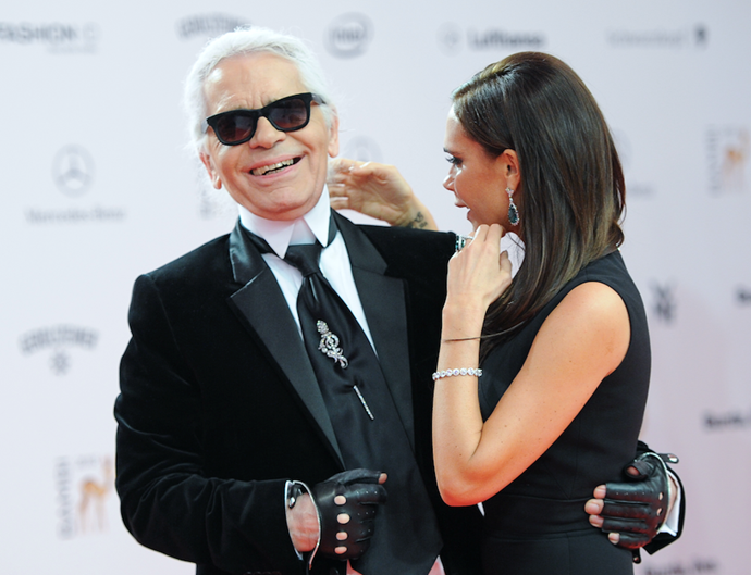 Karl had a plethora of high-profile celebrities who respected his work, including Victoria Beckham. *(Image: Getty)*