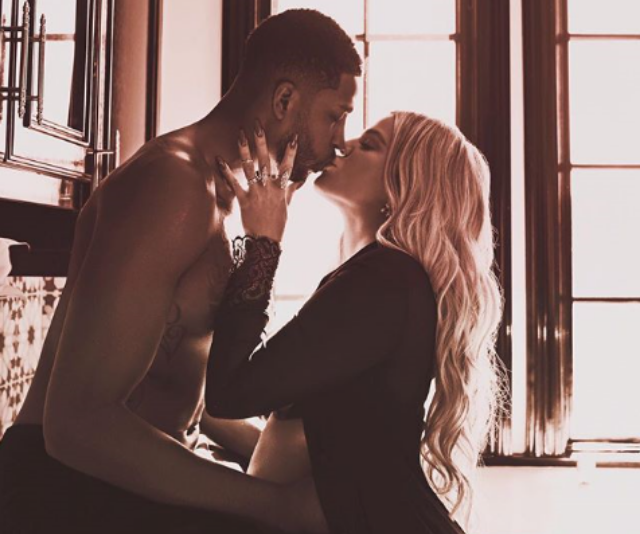 """On Monday April 9, 2019 Khloé  shared with fans a snap of her and Tristan kissing, writing, """"We are ready whenever you are little mama.""""*Image: Instagram/KhloeKardashian*"""