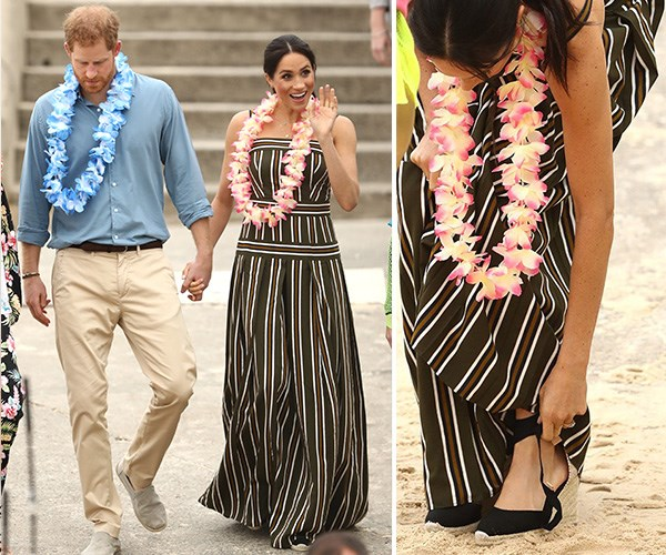 Meghan's black espadradilles were a firm fashion favourite for Aussies. *(Images: Getty Images)*
