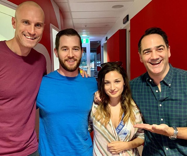 Matthew introduced his new girlfriend on air with Australian radio duo Fitzy and Wippa. (Image: Instagram @fitzyandwippa)