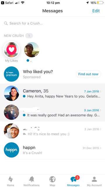 My Happn profile from three years ago was still active... *(Source: Supplied//Now to Love)*