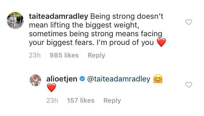 Taite left a supportive message on Ali's post.