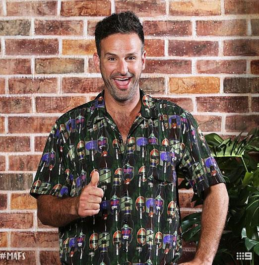 Thumbs up or thumbs down for Mick's beer-print shirt? *(Image: Channel Nine)*