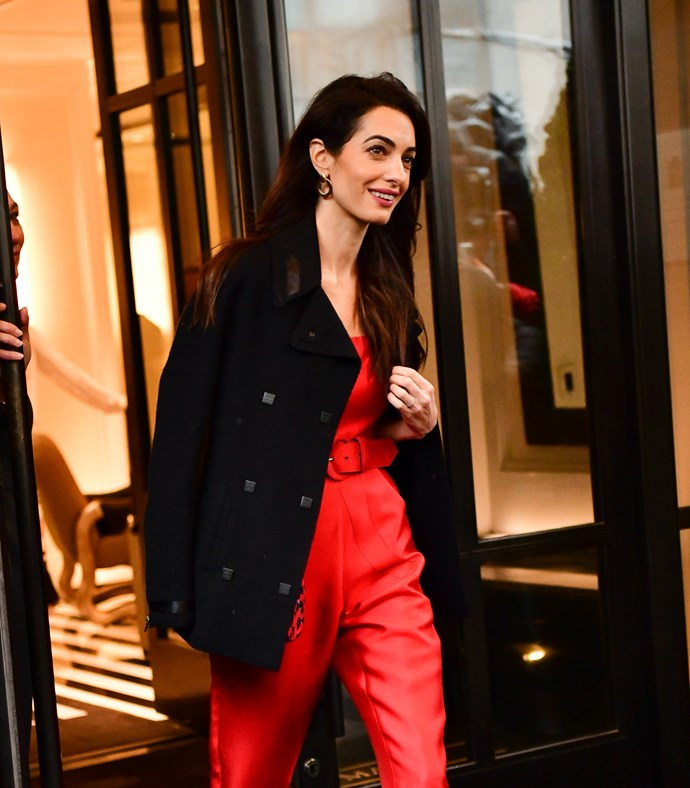 Amal Clooney looking stunning while leaving the baby shower. *(Image: Getty)*