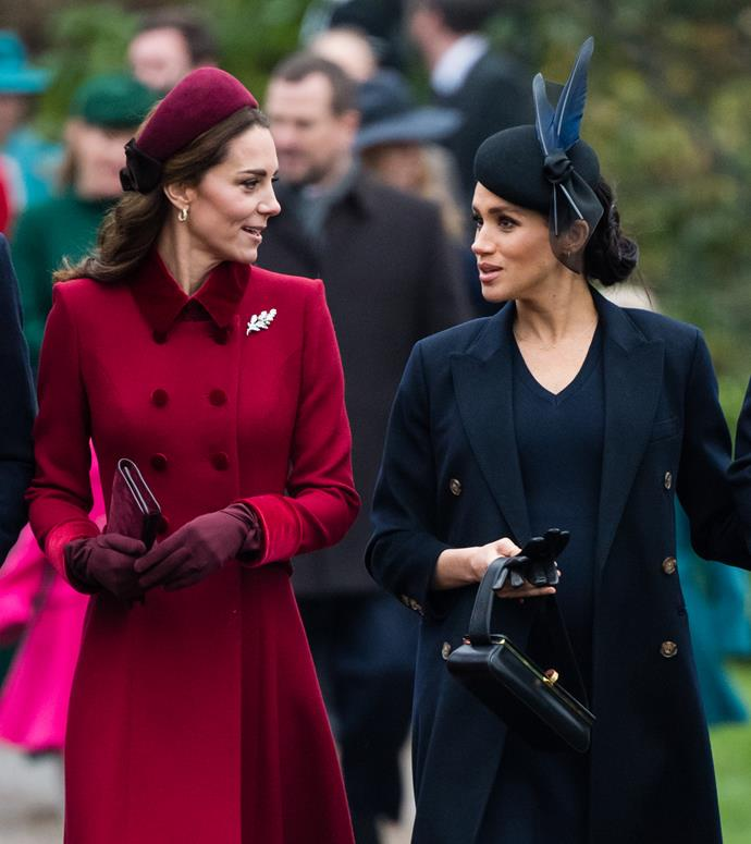 The Duchesses put on a united front at Christmas, attending a church service together in Sandringham. *(Image: Getty)*