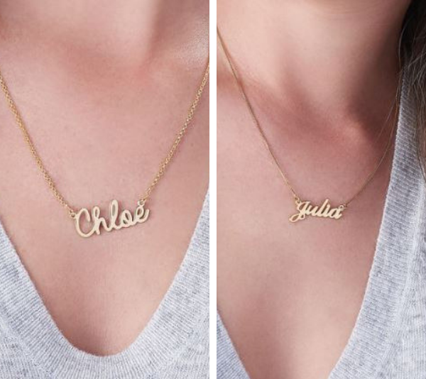 Similar personalised necklaces on mynameplatenecklace.com.au. *(Image: My Nameplate Necklace)*