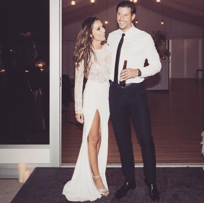 Bachie couple Sam and Snez have revealed the gender of their new baby in the sweetest way. *(Image: Instagram)*