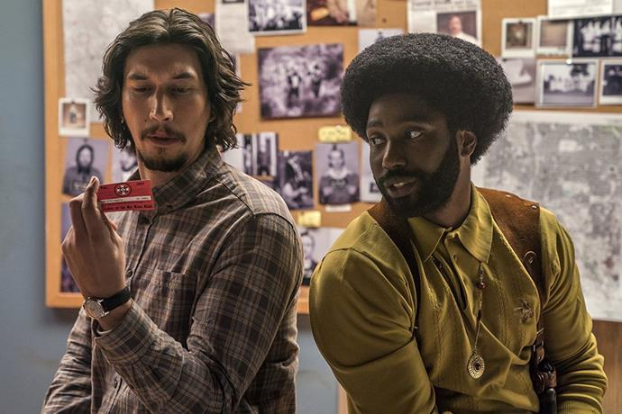 Adam Driver (left) from *BlacKkKlansman* is nominated for Best Supporting Actor.