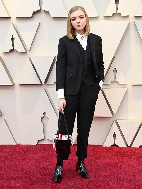 *Eighth Grade*'s Elsie Fisher rocked an alternative look in a monochrome pantsuit by Thom Browne.