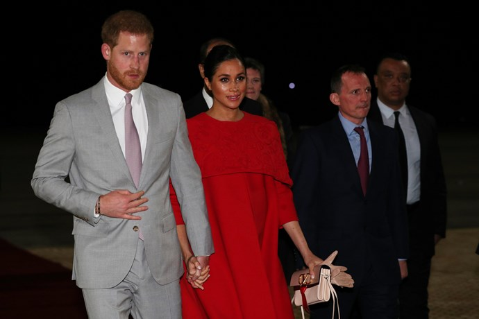 They've arrived! Prince Harry and Duchess Meghan got straight to business as they landed in Morocco. *(Image: Getty)*