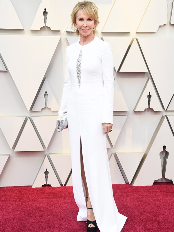 Actress Trudie Styler who has been married to Sting since 1992 shone in bright white too.