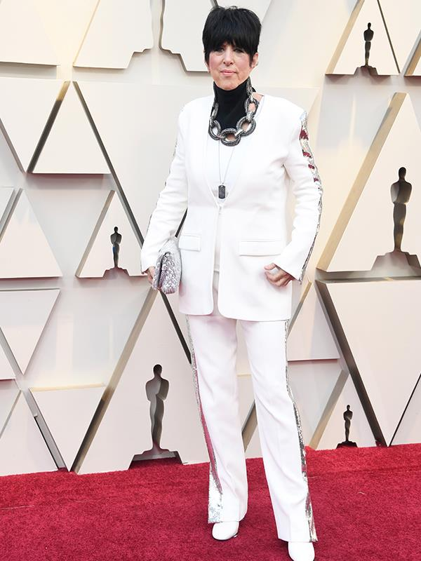 Diane Warren, who's nominated for Best Original Song, rocked the all white look.