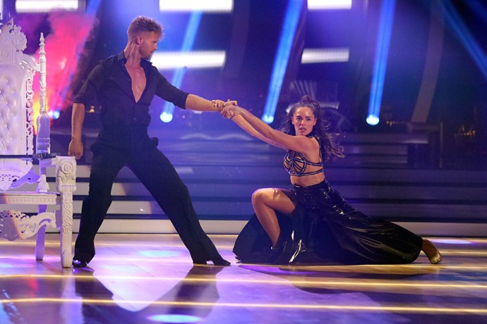 Olympia and her dance partner Jarryd Byrne perform their first number.