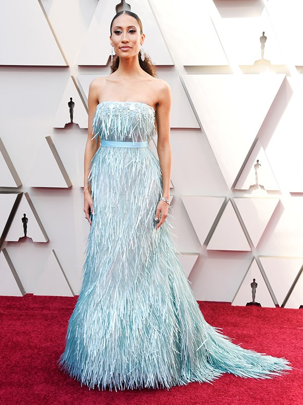Former editor-in-chief of *Teen Vogue* Elaine Welteroth is bringing ice princess vibes in this gown and it's a stunner.