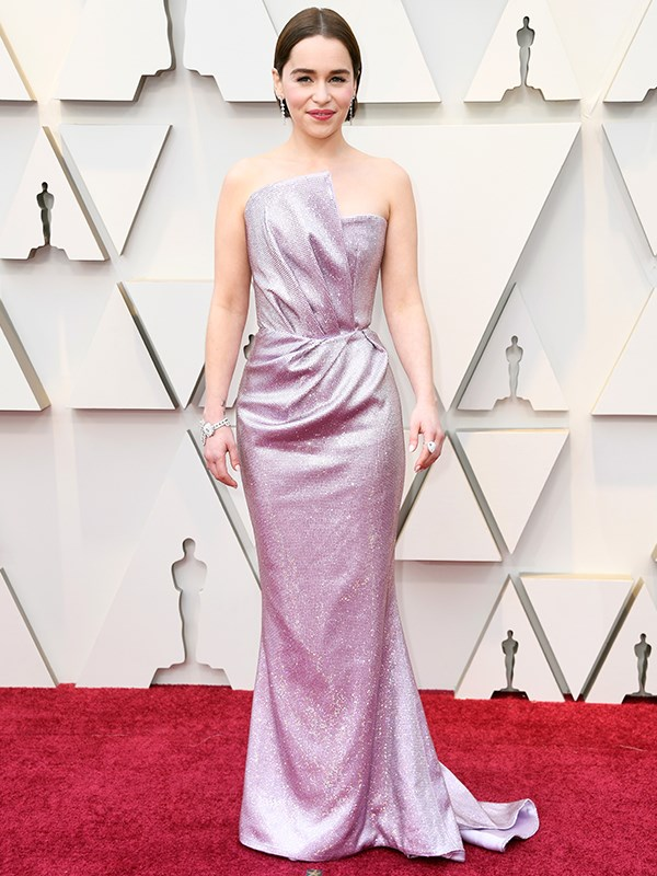 *Game of Thrones* star Emilia Clarke is pure heaven in this lilac number by Balmain.
